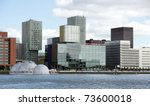 cityview of Rotterdam by the riverside - stock photo