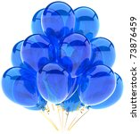 Party balloons blue translucent. Happy birthday anniversary graduation retirement cyan decoration. Fun joy happiness positive emotion abstract. Detailed 3d render. Isolated on white background - stock photo