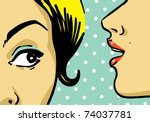 woman telling secrets, pop art retro style illustration - stock vector