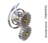 3d illustration, two gear wheels rotate by means of a mainspring - stock photo