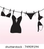 Pantie, bra and  lingerie hanging on rope - stock vector