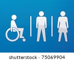Disabled, male and female toilet sign with blue background - vector - stock vector