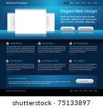 dark blue website design template - stock vector