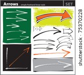 Arrows set (freehand painterly style - chalk, pen, calligraphic) - stock vector