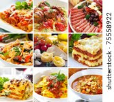 Collage of various Italian dishes. - stock photo