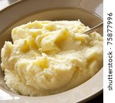 Mashed potato with spoon, in serving bowl. - stock photo