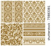 Set of seamless and borders from abstract beige plant(can be repeated and scaled in any size) - stock vector