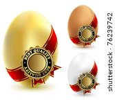 Illustration of three chicken eggs with a ribbon and sign of quality. Vector. - stock vector