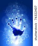 handprint, blue background, lights and chemical formulas - stock vector