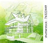 Ecology architecture design: house, plans & green bokeh background - vector illustration. Eps 10 - stock vector