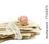 Stack of old love letters (1890-1910), lace and rose flower - stock photo