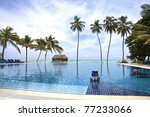 The Infinity pool, Meeru, Maldives, Indian Ocean - stock photo