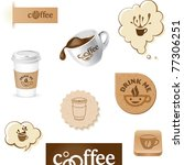 coffee cup and beans symbols buttons and stickers - stock vector