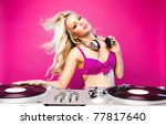 sexy dj woman on pink background - stock photo