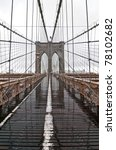 Brooklyn Bridge on a rainy day - stock photo