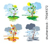 abstract of four seasons, vector - stock vector