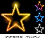 Vector - Glowing Neon Stars Set of Four - stock vector