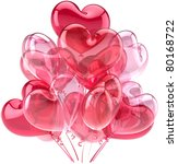 Party balloons birthday Love hearts decoration pink red multicolor. Romantic happy joy fun relationship abstract. Valentines Day greeting card concept. Detailed 3d render. Isolated on white background - stock photo