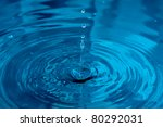 blue water droplets macro shot - stock photo