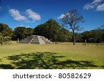 Temple of Structure 4 in the Copan Ruinas - stock photo