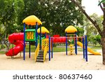 children playground in park - stock photo
