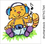 vector illustration- cute little cat seating on the grass and listening his favorite music - stock vector