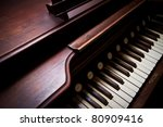 A close up of a antique organ - stock photo