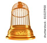 wide-angle bottom view of golden birdcage isolated on white - stock photo