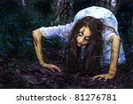 I am creeping to you. Horror Scene. - stock photo