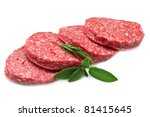 raw hamburger isolated on white background - stock photo