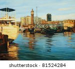 old port of barcelona, painting on a canvas oil - stock photo