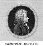 Wolfgang Amadeus Mozart (1756-1791. Engraved by J.Thomson and published in The Gallery Of Portraits With Memoirs encyclopedia, United Kingdom, 1835. - stock photo