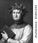 Francesco Petrarca aka Petrarch (1304-1374). Engraved by R.Hart and published in The Gallery Of Portraits With Memoirs encyclopedia, United Kingdom, 1833. - stock photo