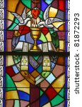 Holy Orders, Seven Sacraments, Stained glass - stock photo