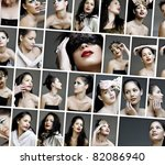 variety collage of fashion and make-up pictures of a beautiful young woman wearing from dramatic to natural make-up. - stock photo