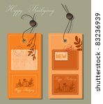 thanksgiving greeting card label - stock vector