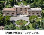 Beautiful View from Vatican above House and Garden of Pope - stock photo