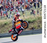 BRNO, CZECH REPUBLIC, AUGUST 14:Casey Stoner celebrate 1st place in the MotoGP race in world championship on 14 august, 2011, in Brno, Czech republic. - stock photo