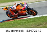 BRNO, CZECH REPUBLIC, AUGUST 14:Casey Stoner in the MotoGP race in world championship on 14 august, 2011, in Brno, Czech republic. - stock photo
