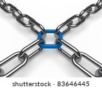 3d chain chrome blue cross security metal - stock photo