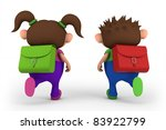 school kids running -  - high quality 3d illustration - stock photo