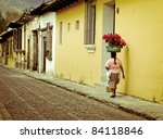 cobble streets Antigua Guatemala - stock photo
