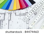 palette of colors designs for interior works & architectural drawings - stock photo
