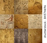 set of ancient Egyptian writing on stone - stock photo