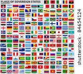 Vector set of Flags of world sovereign states (September 2011). New flags of Libya, South Sudan, Myanmar, Malawi. - stock vector