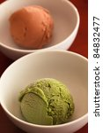 Ice cream green tea and caramel - stock photo