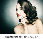 Beautiful woman with evening make-up. Retro style. Fashion photo - stock photo