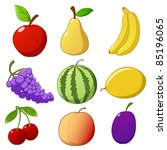 Set cartoon hand drawn fruits isolated on white background. Vector illustration. - stock vector