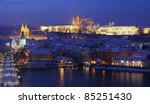 View on Prague from Charles Bridge tower - stock photo