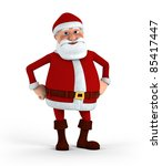 Cartoon Santa Claus standing with hands to his hips - high quality 3d illustration - stock photo